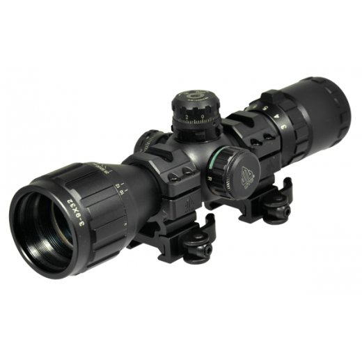 UTG 3-9X32 1 BugBuster Scope, AO, RGB Mil-dot, QD Rings
